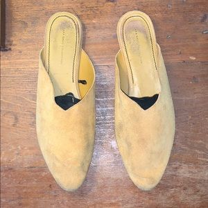 Mustard yellow suede shoes